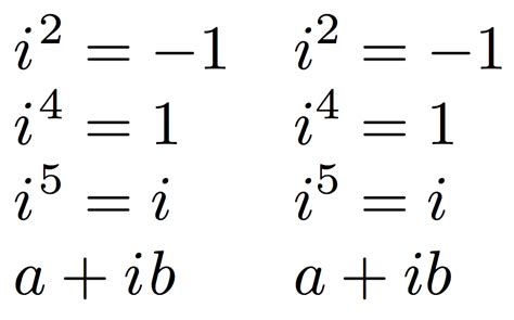 tutorial questions on complex numbers spacing how should imaginary numbers be typeset tex
