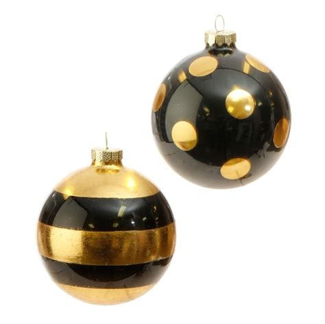 raz black gold ball ornament set of 2