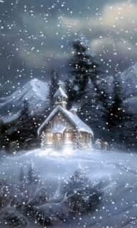 beautiful animated winter gif snow fall on church staplepost