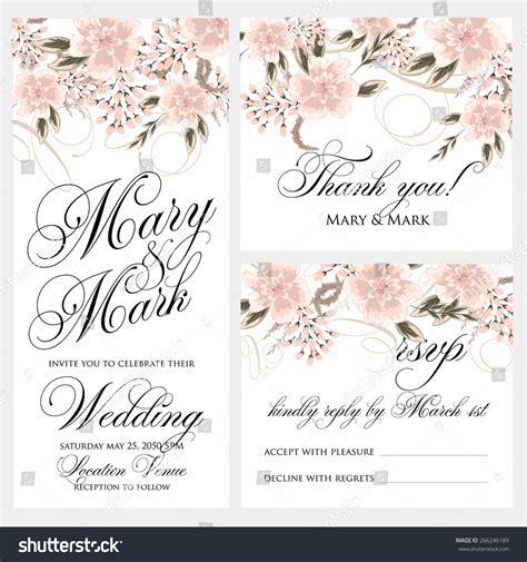 wedding invitation rsvp date wedding invitation thank you card save stock vector