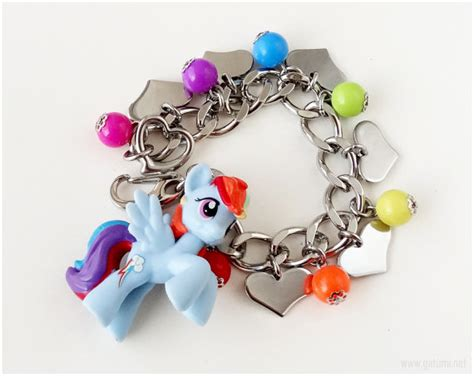 rainbow dash charm bracelet stainless steel chain mlp my