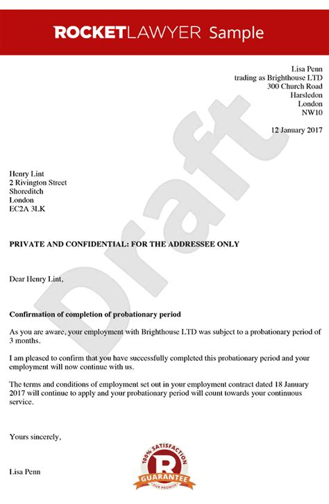 employment probation letter template probationary letter to
