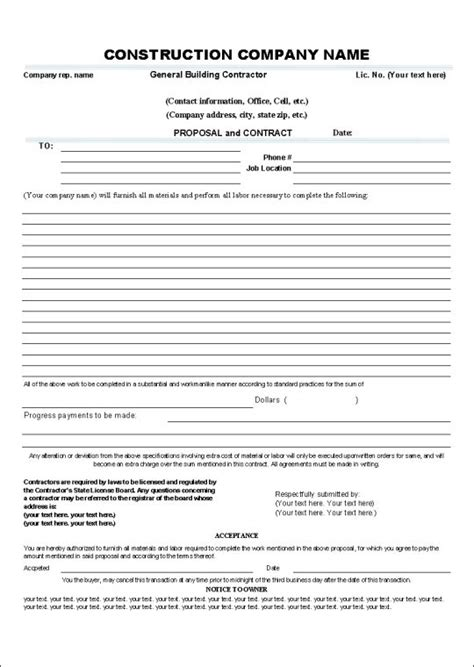 printable sle construction contract template form