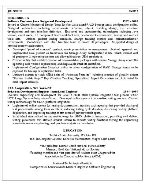 software engineer resume exle software engineer resume exle sle
