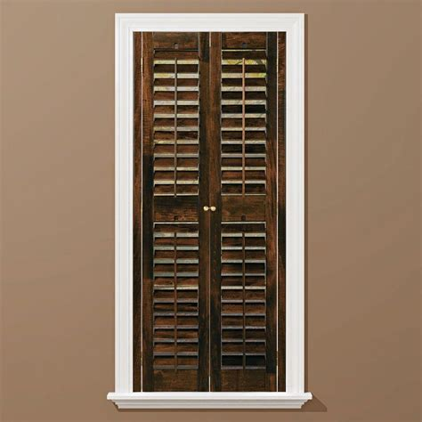 Homebasics Plantation Walnut Real Wood Interior Shutters Home Depot Window Shutters Interior