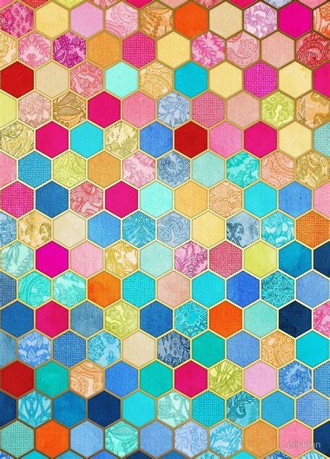 honeycomb pattern color patterned honeycomb patchwork in jewel colors by micklyn