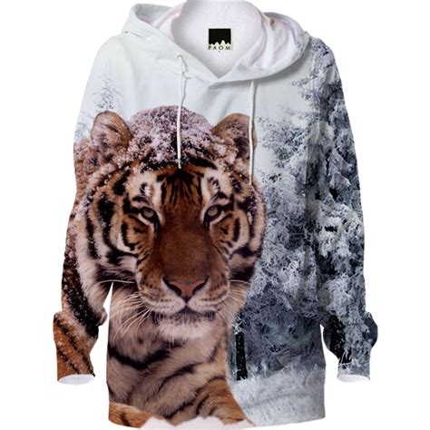 Tiger Hoodie tiger and snow hoodie tiger hoodie siberian tiger and