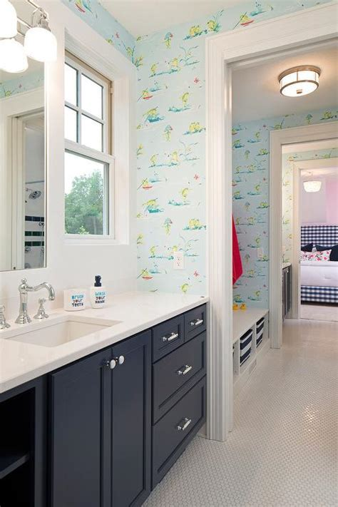 green and blue bathroom ralph lauren chesapeake wallpaper cottage bathroom