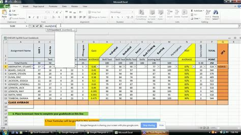 Gradebook Spreadsheet by Gradebook Excel Vertola