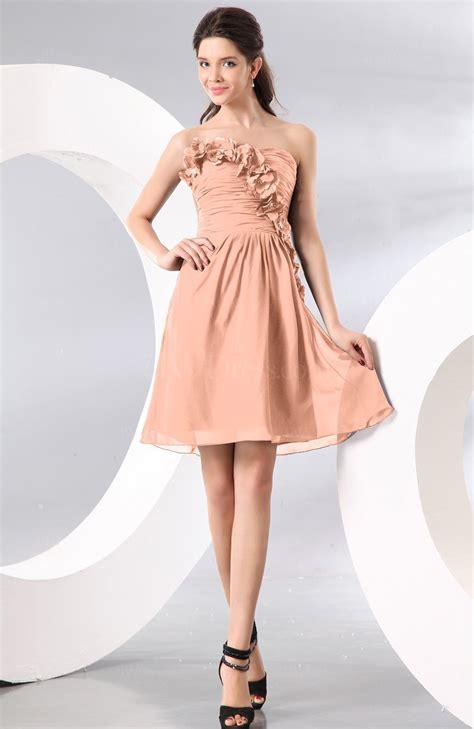 peach plain   strapless sleeveless zipper knee length