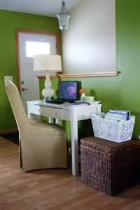 office desk in living room 2017 grasscloth wallpaper