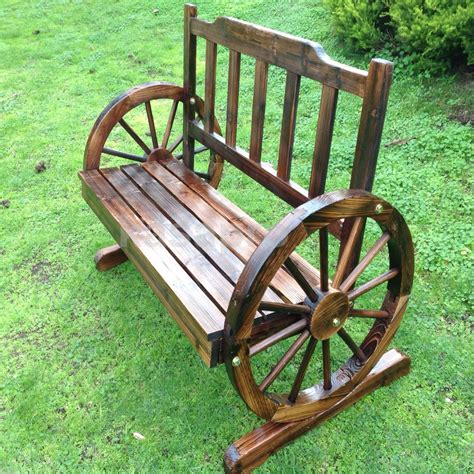 wheel bench new genuine kasa fir wood park garden patio wheel bench 2