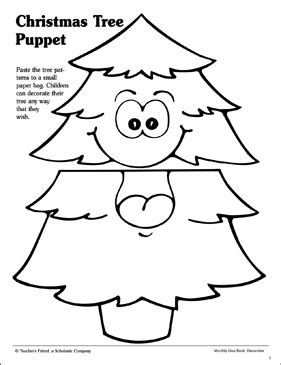 christmas arts and crafts printables tree paper bag puppet pattern printable arts crafts and skills sheets
