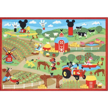 Disney Mickey Mouse Friends On Rug Belgium - disney mickey mouse farm pile rug multi