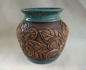 pottery carved vase with flower design 1345 vase
