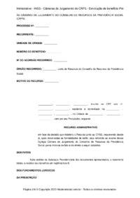 Modelo Recurso Administrativo - INSS - Câmaras de