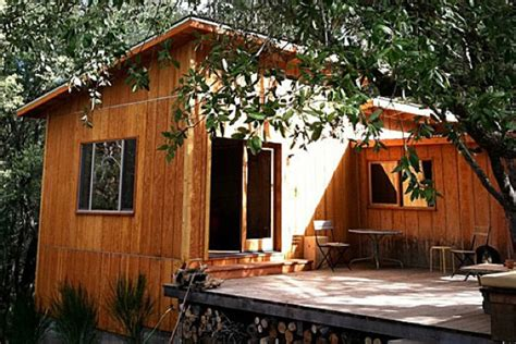 rustic  modern micro cabin  deck tiny house pins