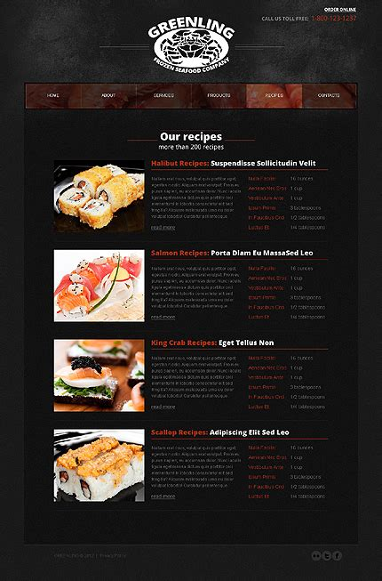 frozen seafood html5 website template with drop down menus