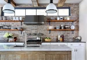 Rustic exposed brick wall design combined with modular white pendant