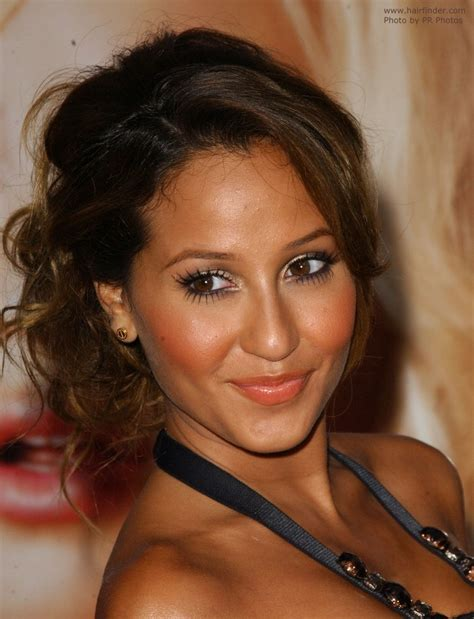 Adrienne Bailon Hairstyles by Casual Updo With The Hair Parted On The Side And