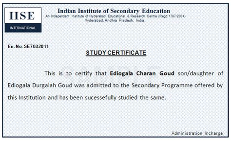 Study Certificate Issue Letter Vocational School Vocational School Certificate Sle