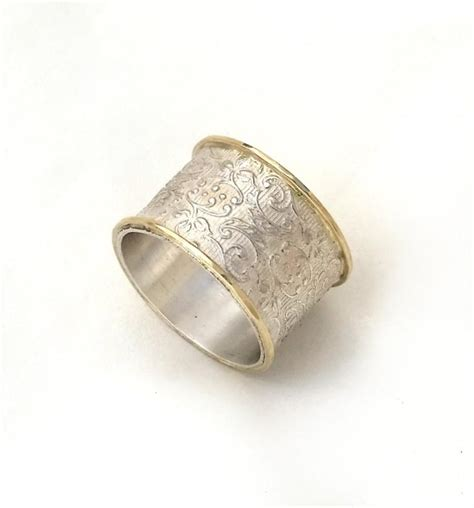 pattern gold wedding ring wide silver wedding ring flower and leaf pattern women s