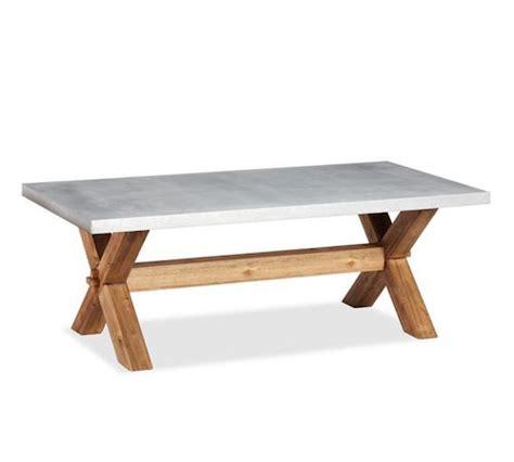 pottery barn abbott zinc top rectangular coffee table look