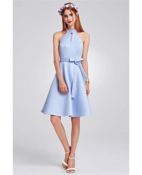 light blue knee length dress light blue knee length halter cheap bridesmaid dress