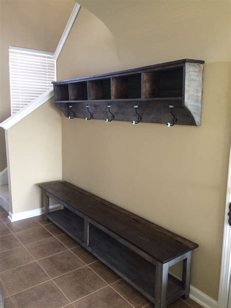 entry shelf entryway storage shelf with hooks and by knot2shabbycustomcre