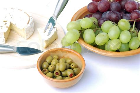 ripened cheese olives  grapes stock photo colourbox