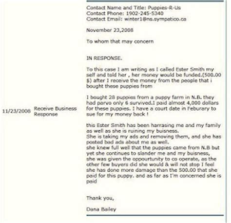 Response Letter To Better Business Bureau digby s puppy m k iller a letter from bailey
