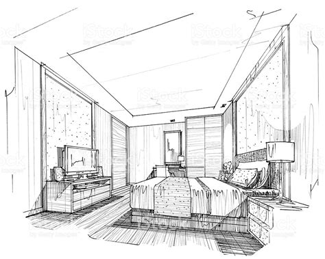 interior perspective of a bedroom interior lines perspective interior perspective rendering