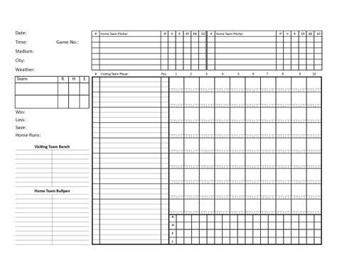 blank scorecard template blank baseball scorecard template pdf format e