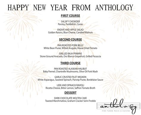 new year dinner menu new year s december 31 2011 171 anthology artists