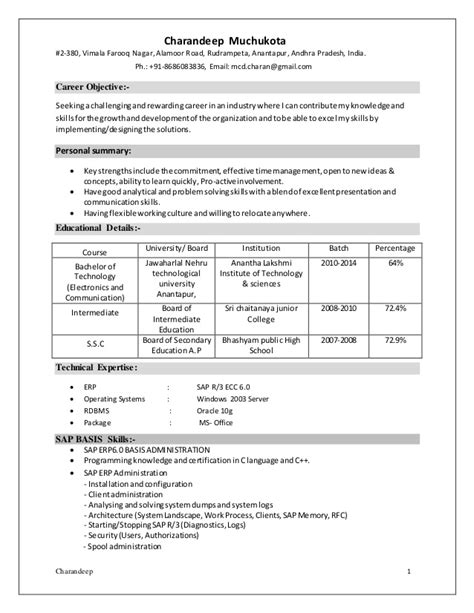 Sap Trainer Sle Resume by Sap Basis Fresher Resume Free 28 Images Resume Sap Fresher Word Resume Format Sap Basis