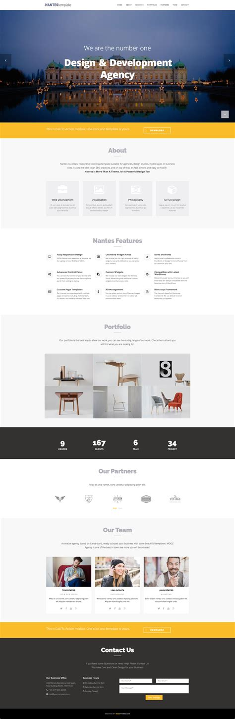 one page html5 responsive template free nantes free responsive html5 bootstrap one page template
