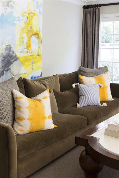 Yellow Living Room Brown Furniture Brown Sofa With Yellow Pillows Contemporary Living Room