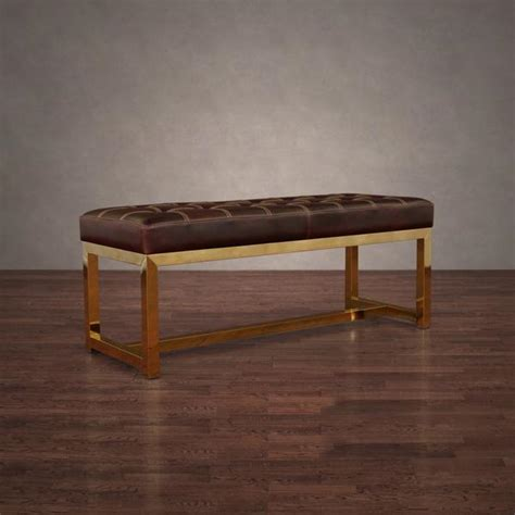 brown leather bench dark brown leather aluminum frame bench