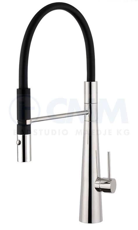 Design Edelstahl Küchenarmatur, schwarzer Schlauch, mit verstellbarer Pendelbrause
