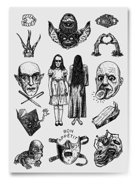 small scary tattoos horror designs pretty in ink