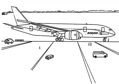 787 Coloring Page by Boeing 787 Dreamliner Just Landing At Airport Coloring