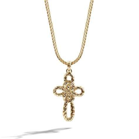 hardy small cross pendant on chain necklace in gold
