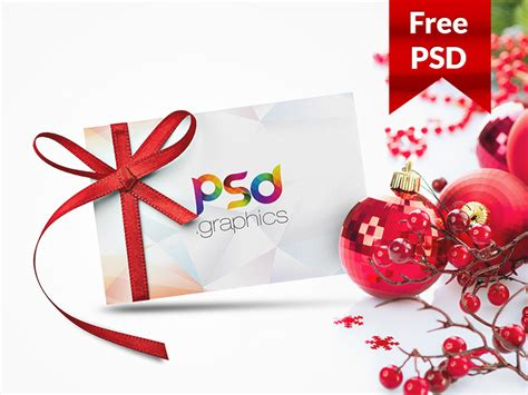 christmas gift card mockup free psd by psd graphics dribbble
