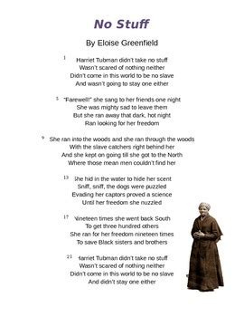 harriet tubman biography and questions quot no stuff quot by eloise greenfield harriet tubman poem and
