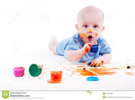baby painting free baby royalty free stock photo image 19515385