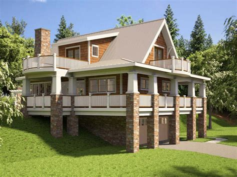 walkout basement designs hillside house plans with walkout basement hillside house