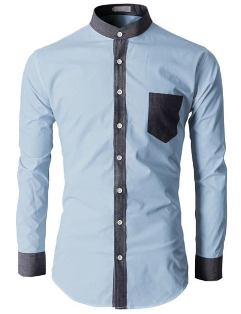 Tshirt Polos Pria Basic Slim Navy mens cuff dress shirts no collar dress shirt fabric