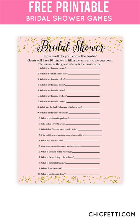 25 best ideas about free bridal shower games on pinterest