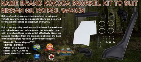 Name Brand Kokoda Snorkel Kit Suits Nissan GU Patrol 1997