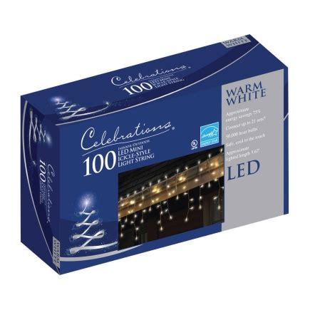 celebrations led lights celebrations icicle clear led 100 light set 40810 71